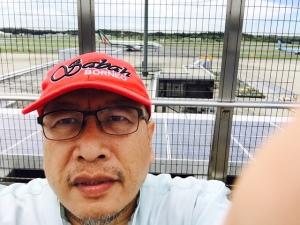 at the observation deck Narita International